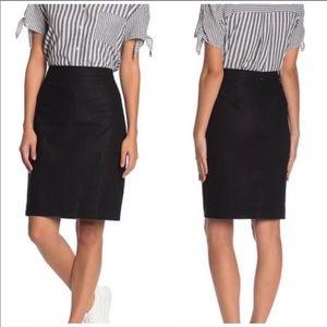 J. Crew Pencil Linen Skirt Black Women's Career